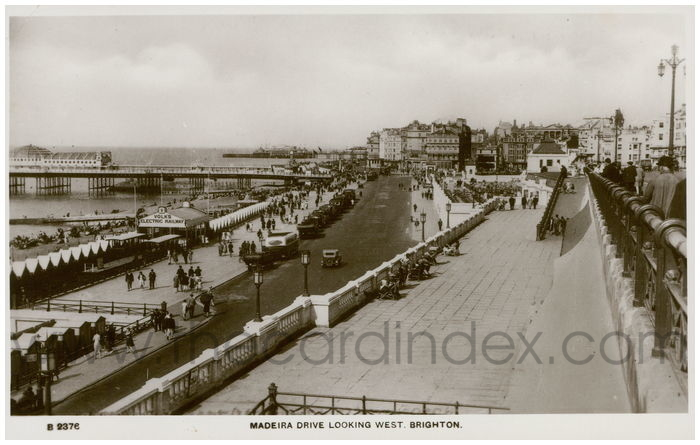 Postcard front: Maderia Drive Looking West. Brighton.