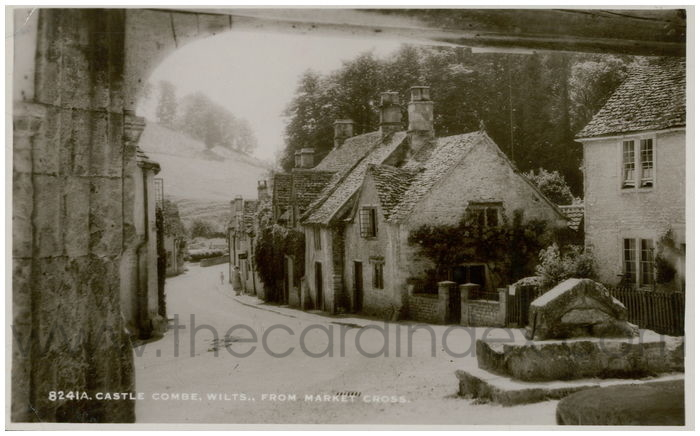 Postcard front: Castle Combe, Wilts. From Market Cross.