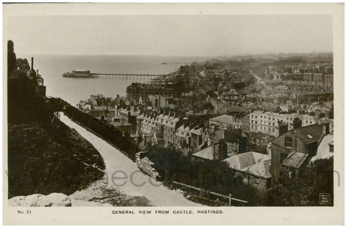 Postcard front: General View from Castle, Hastings.
