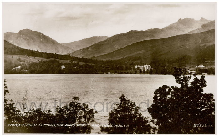 Postcard front: Tarbet, Loch Lomand, Showing Hotel and The Cobbler