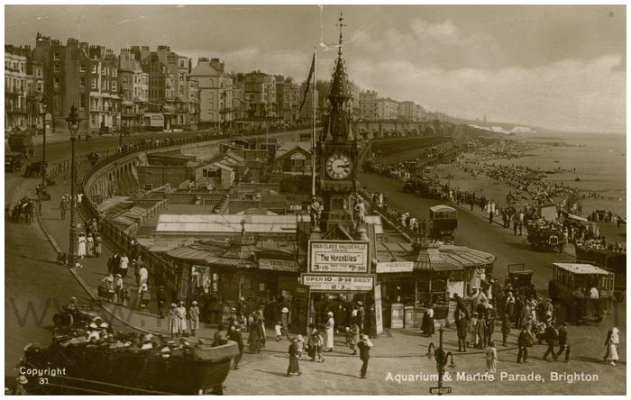 Postcard front: Aquarium & Marine Parade, Brighton.