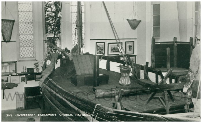 Postcard front: The 'Enterprise', Fisherman's Church, Hastings.