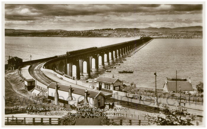 Postcard front: Tay Bridge, from the South. Longest Bridge in the World. Total Cost £650,000. Length of Viaduct 10,780 feet.