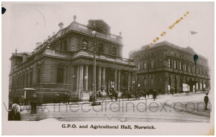 Postcard front: G.P.O. and Agricultural Hall, Norwich.