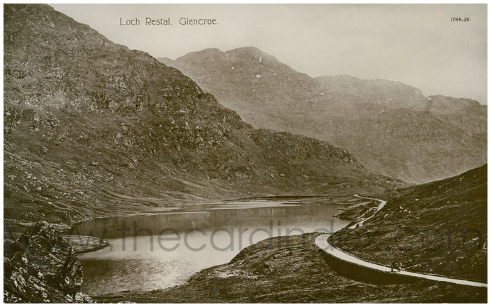Postcard front: Loch Restal, Glencoe.