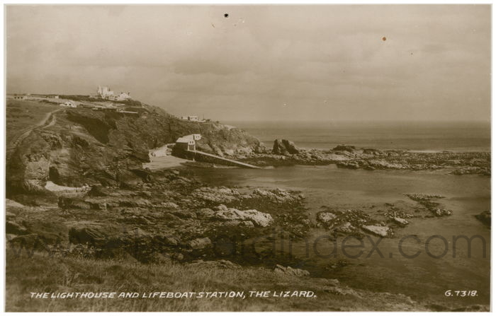 Postcard front: The Lighthouse And Lifeboat Station, The Lizard.