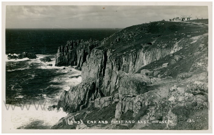 Postcard front: Land's End and First and Last House.