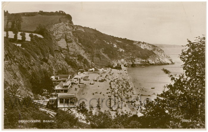 Postcard front: Oddicombe Beach