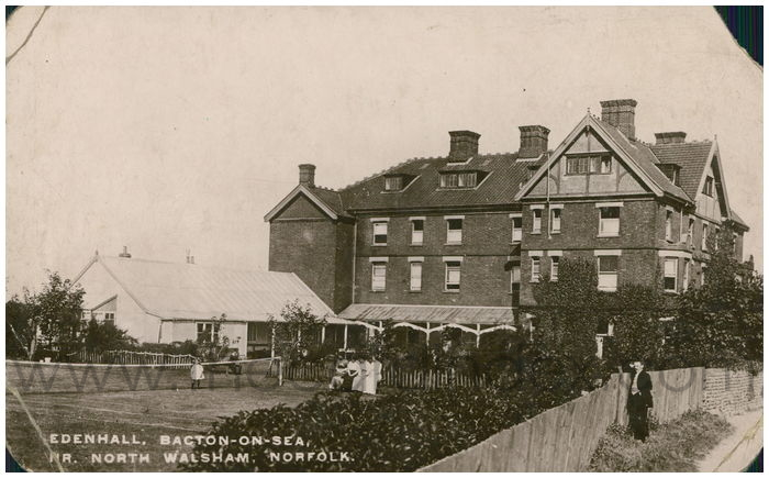 Postcard front: Edenhall, Bacton-on-Sea, Nr. Walsham, Norfolk.