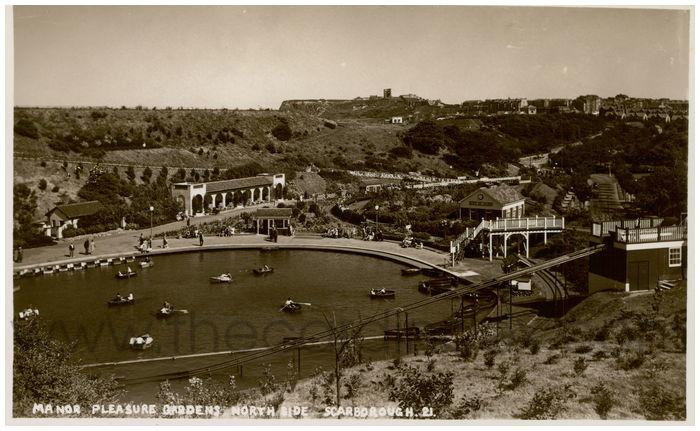 Postcard front: Manor Pleasure Gardens North Side. Scarborough.