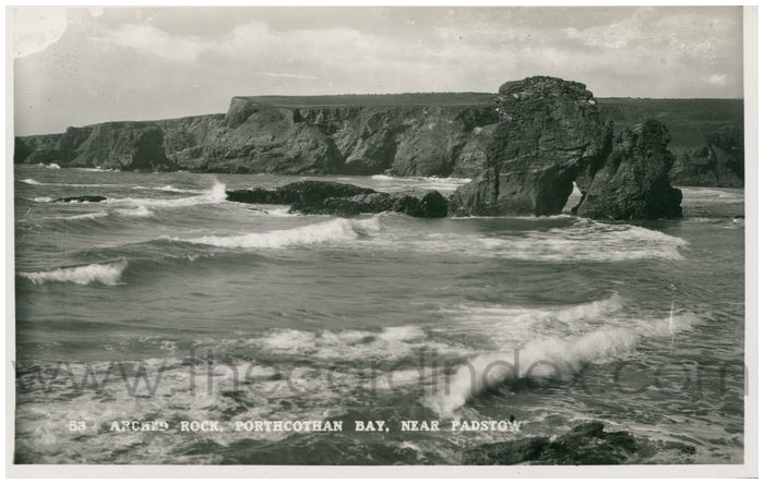 Postcard front: Arched Rock, Porthcothan Bay, near Padstow