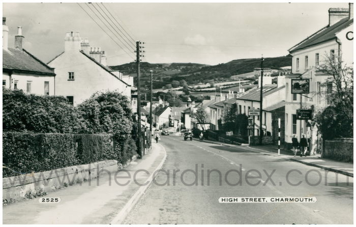 Postcard front: High Street, Charmouth.
