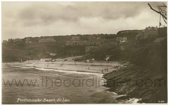 Postcard front: Porthminster Beach, St. Ives.