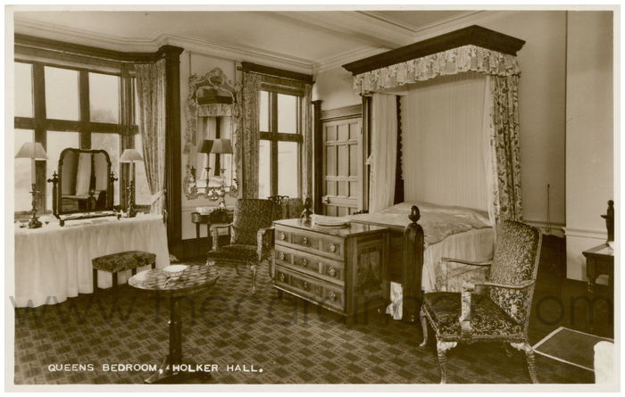 Postcard front: Queens Bedroom. Holker Hall.