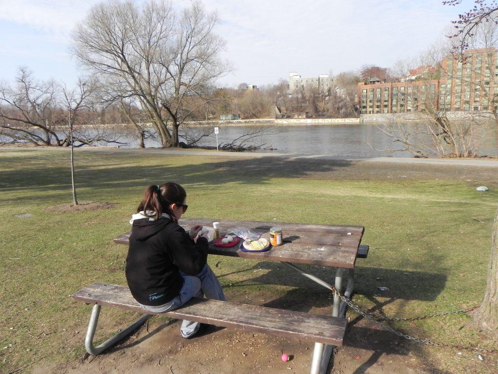 Enjoying breakfast public park style.