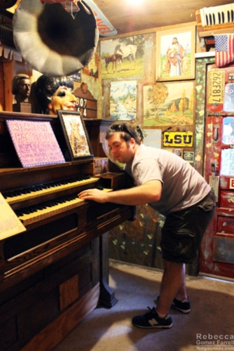 My husband testing out a crank player piano.