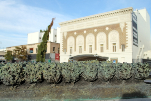 The theater with sculpted groves from the installation.