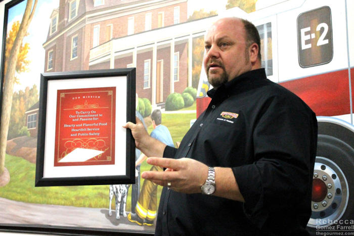 Robin discussing Firehouse Subs' goals, which are posted in every restaurant.