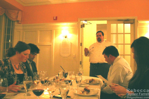 The chef doing so at the end of our long table