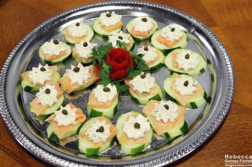 Salmon, cucumber, and herb cream cheese bites.