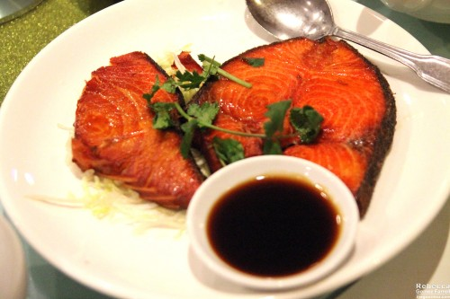 Salmon (at least I think it was!) in a sweet teriyaki-style glaze.