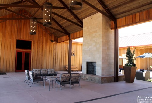 Seating area on the other side of the double fireplace.