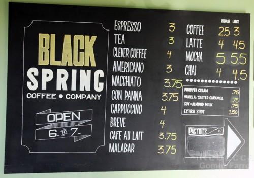 Black Spring Coffee Menu