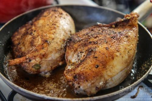 Searing chicken