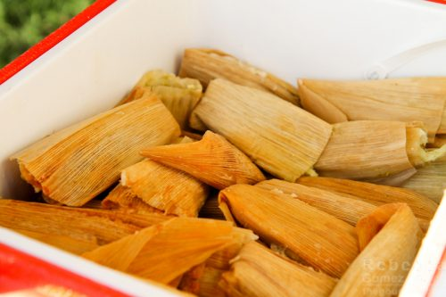 Homemade tamales in cooler