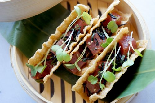 Clift Hotel tuna poke tacos
