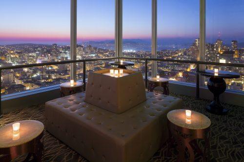 Cityscape Hilton San Francisco sunset