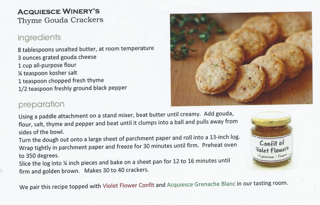 thyme gouda crackers, acquiesce winery, cracker recipe, thyme cracker recipe, gouda cracker recipe, lodi