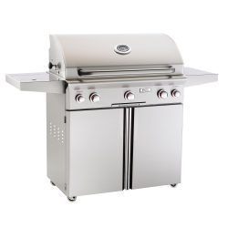 american-outdoor-grill-36-inch-stainless-steel-gas-grill-on-cart-with-rotisserie-and-side-burner