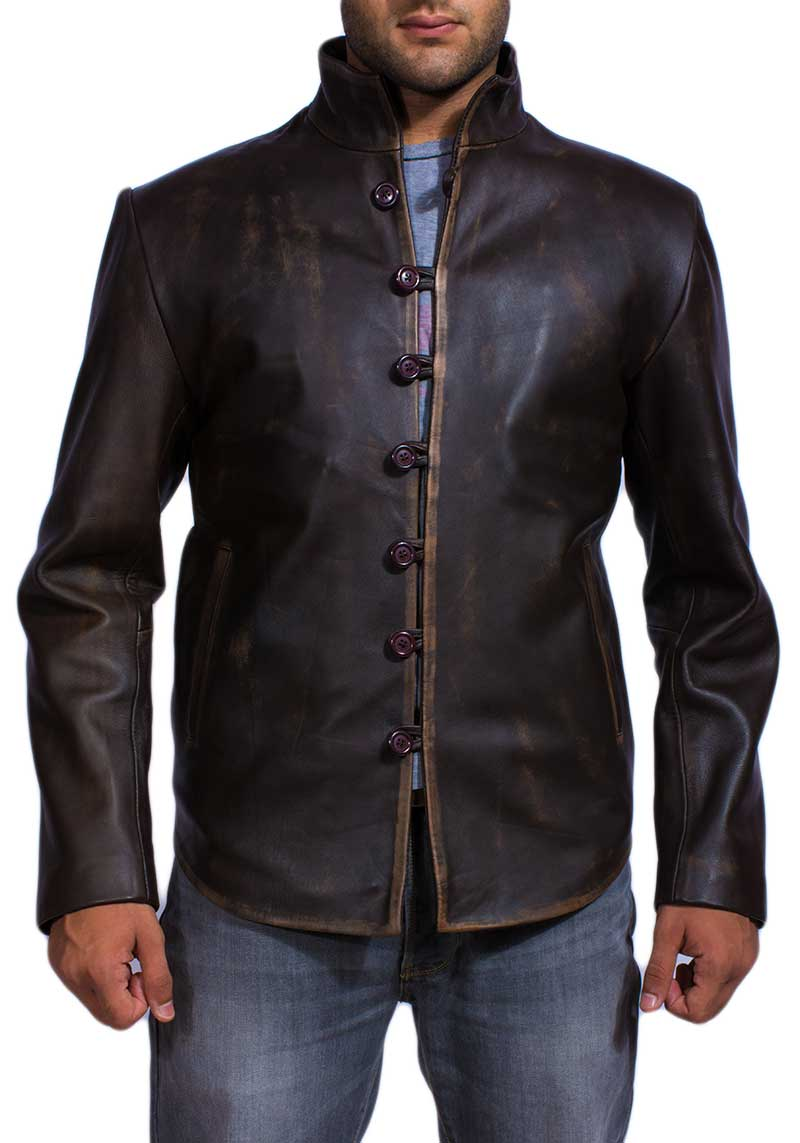 Tjm 0242 vintage brown leather jacket