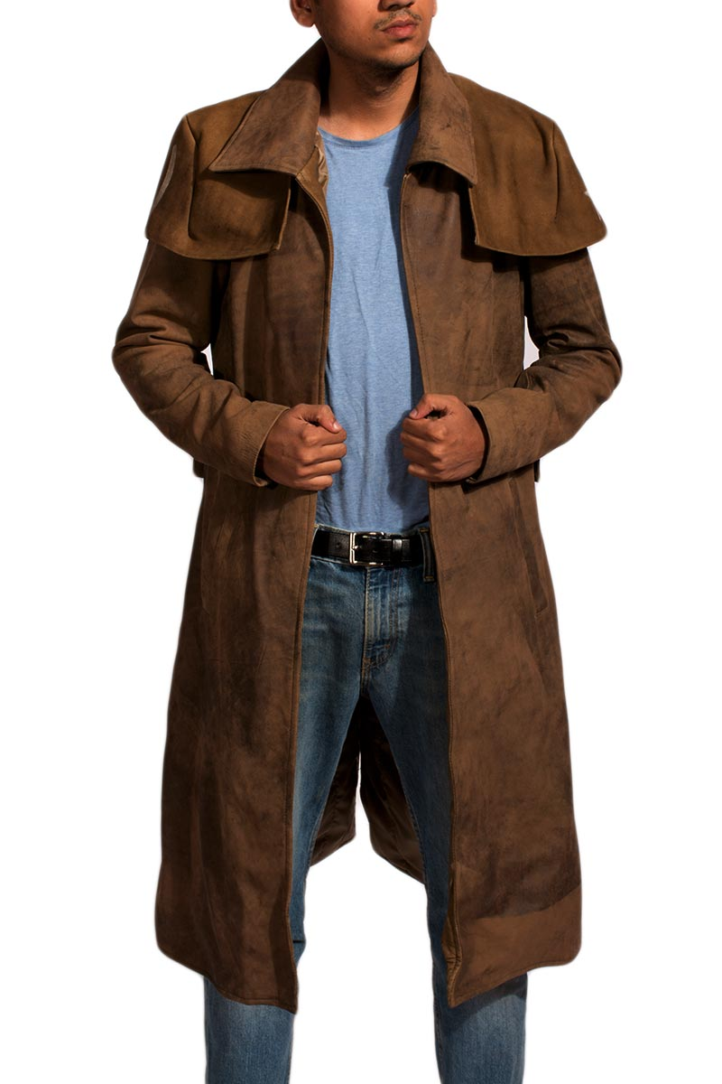 Tjm 0318 army brown leather duster