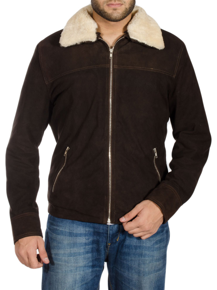 Tjm 0345 brown jacket with shearling collar amp fur lining