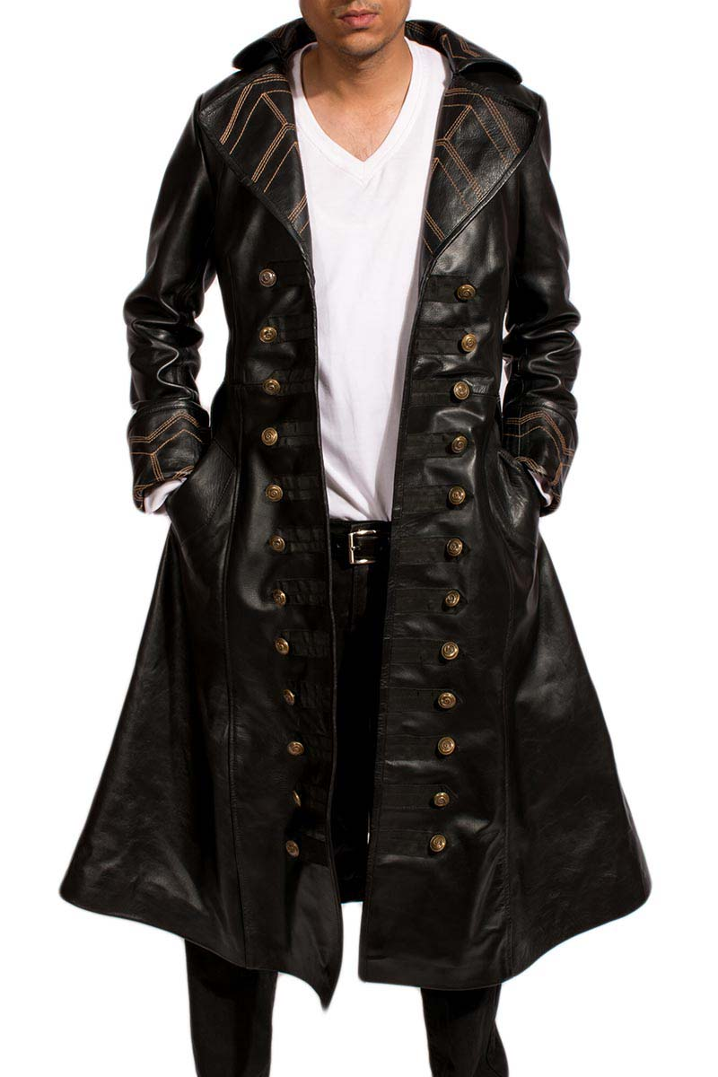 Tjm 0357 pirate black long coat
