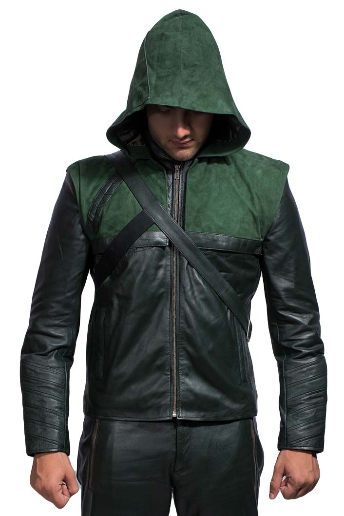 Tjm 0435 green hooded leather jacket