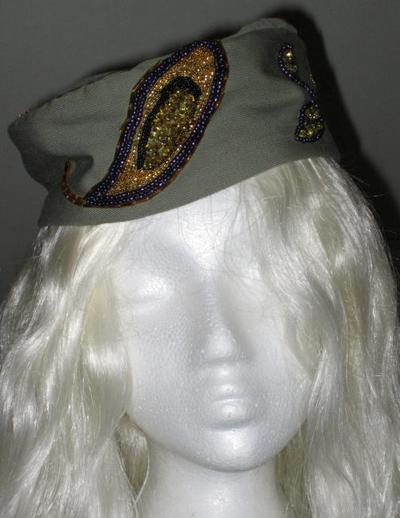Bead-Embroidered Military Style Wizard's Hat