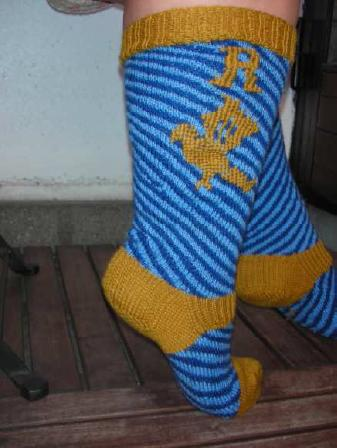 Diagonal Embroidered Ravenclaw Socks