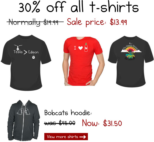 Shirts are 30% off