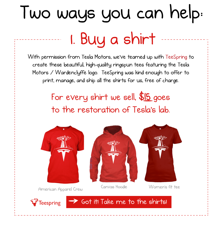 Tees for Tesla from TeeSpring