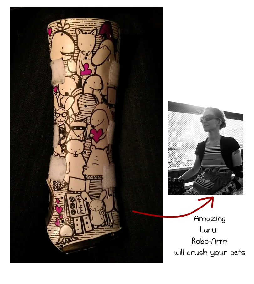 Handmade wearable art by laru the oatmeal for Arm cast decoration ideas