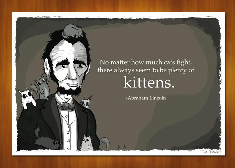 Abraham Lincoln kitten print