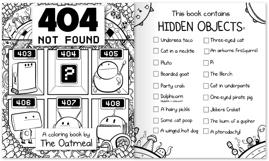 404 Not Found A Coloring Book By The Oatmeal A Coloring Book