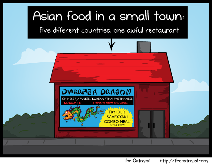 Asian food in a small town