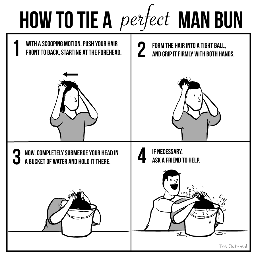 How to tie a perfect man bun the oatmeal how to tie a perfect manbun ccuart Gallery
