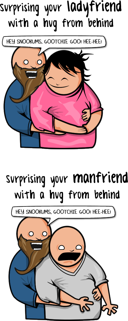 Surprising your ladyfriend with a hug