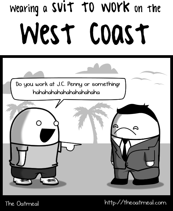 wearing a suit to work on the West Coast