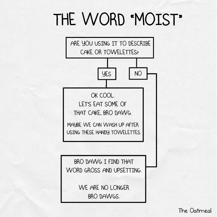 Don't tell me you're moist, bro-dawg